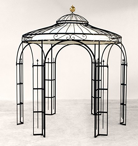 ELEO Milano runder Garten-Metall-Pavillon mit Sonnensegel, Ø 2,9 Meter (Oberfläche: anthrazit duplexbeschichtet)