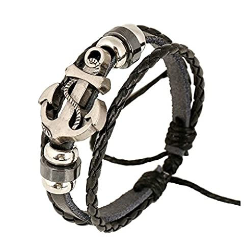 SanJiu Jewellery Men's Bracelet Alloy Genuine Leather Handmade Braided Leather Cord Bracelet with Anchor Multi-layer Wrap Surfer Wristband Wrap 17-27CM Adjustable Bracelet Bracelet for Men