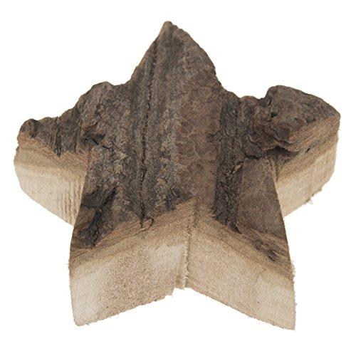 4 x decorazione Stella FOREST - colore decorativo con corteccia - legno stella