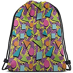 "xinfub Funky Geometric 80S Memphis Fashion Style Colorful Figures Pop Art Inspired Pattern 3D Print Drawstring Backpack Rucksack Shoulder Bags Gym Bag for Adult 16.9""X14"""