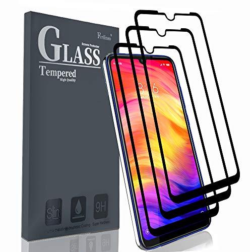 Ferilinso Panzerglas Schutzfolie Kompatibel mit Xiaomi Redmi Note 7/ Note 7S/ Note 7 Pro Panzerglas,[3 Stück] [Enhanced Edition] [Vollklebstoff] Selbstabsorbierender gehärteter Glasschutzfilm mit