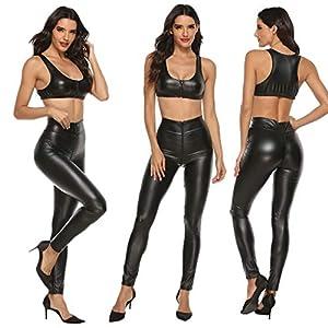Marico NahumFrauen Kunstleder Clubwear BH Zipper Open Crotch Hosen Dessous Set