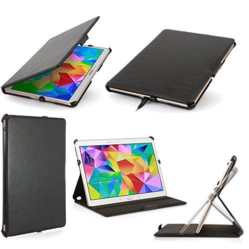 Schutzhülle Samsung Galaxy Tab S 10.54g/LTE schwarz Ultra Slim Leder Style mit Multis Stand-Schutzhülle Luxe Schutzhülle Samsung Galaxy Tab S 10,5Zoll schwarz-Zubehör Tasche XEPTIO: Exceptional Case. - 3g Luxe Case