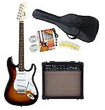 Fender Squier Bullet Strat RW BSB Starter SET (E-Gitarre, 15-Watt-Gitarrenverstärker, Gitarrentasche, Kabel, Plektren & Ersatzsaiten) Brown Sunburst