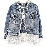 Kinder Mädchen Denim Jeans Jacke Süße Lace Kinderjacke Jeansjacke mit Spitze (140cm(6-7Jahre))