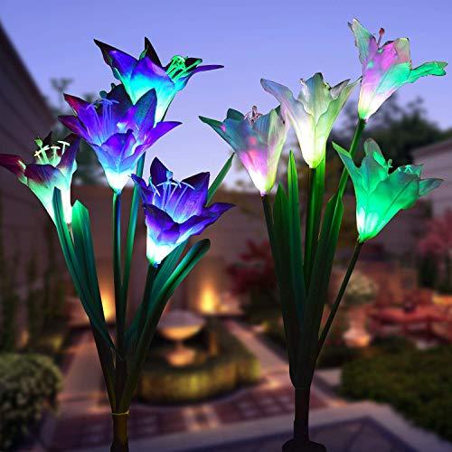 Led Energia Solare Lampada con giglio Solare Luci per Giardino, Patio, Cortile (Viola e Bianco)