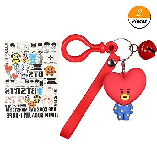 GOTH Perhk Kpop BTS Cartoon Acryl Schlüsselanhänger Tasche Anhänger Schlüsselanhänger TATA COOKY MANG, ein kostenloser BTS Tattoo Aufkleber Enthalten(tata)