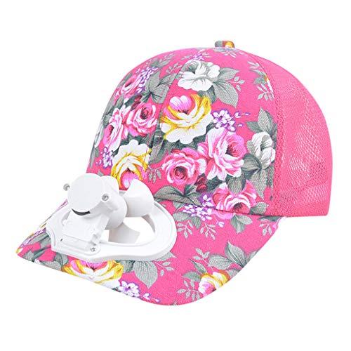Auiyut Sommer Fan Kühlung Baseballmütze Schatten Sonnenhutblende Baseballmütze USB-Lade-Lüfterkappe Für Golf Camping Angelsport mit Mini-Ventilator (HeißRosa, FREIEGRÖSSE)