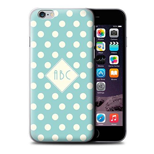 Personalisiert Individuell Tupfen Polka Hülle für Apple iPhone 8 / Dunkelblau Design / Initiale/Name/Text Schutzhülle/Case/Etui Hellblau