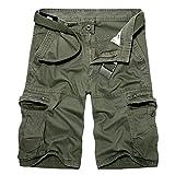 AYG Cargo Shorts Bermudas Hombre Pantalones Cortos(army green,34)