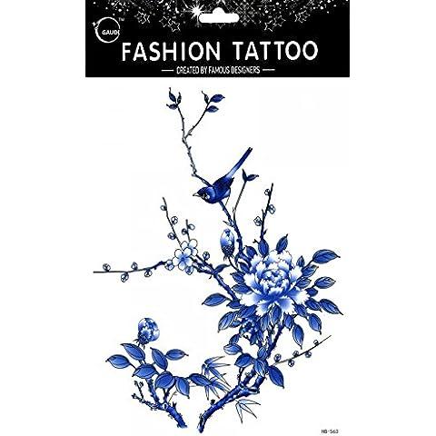 GGSELL GGSELL impermeable y no Tóxico temporal tatuajes diseño grande azul gorriones y flores temporal tatuajes Mujer para el pecho, Ombligo, Espalda, Piernas,