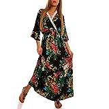 Boho Maxikleid Kimonokleid ALS Stylisches Strand-Kleid oder Party-Kleid Sommer Jumper aus 100% Viskose - Freizeit-Kleid mit Allover-Druck, Farbe:Schwarz, Größe:XL-XXL -38/40