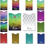 14 fundas de bloqueo RFID kit de 12 protectores de tarjeta y 2 porta pasaportes, diseños exclusivos multicolor para billetera de hombres y mujeres, Protección total contra robo de identidad
