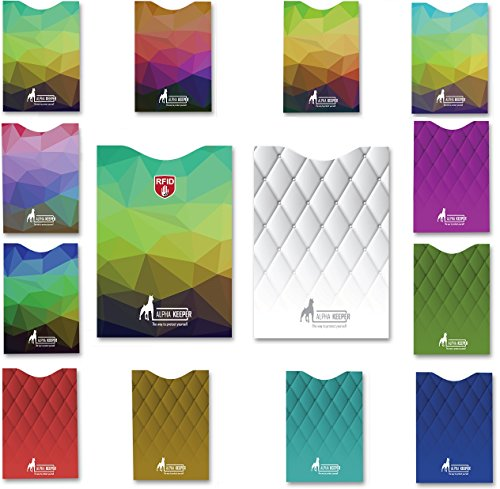 14 fundas de bloqueo RFID kit de 12 protectores de tarjeta y 2 porta pasaportes, diseños exclusivos multicolor para billetera de hombres y mujeres, Protección total contra robo de identidad, Obligatorio para cualquier viajero