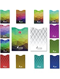14 x RFID card protector Blocking Sleeves set of 12 x credit card protectors & 2 x Passport holder ,Unique exclusive stylish designs for Men & Women wallet Secure Identity Theft Protection, MUST BE with any traveler