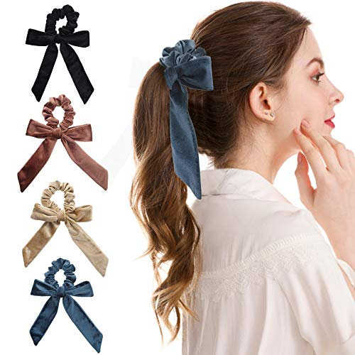 WELROG 4 Stücke Frauen Haar Haargummis Haar Krawatten Kopfverpackung Gummibänder Haar Zubehör (Kaffee/Kamel/Blau/Schwarz) -