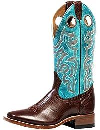 Botas de los EE.UU.-Botas, botas de cowboy BO-4748-65-C (normal), diseño de pie, color azul turquesa y Maron