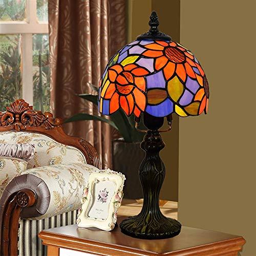 Stained Glass Style Stained Glass Tischlampen, European Sun Flower Garden Mediterrane Nachttischlampe Multicolor, 8 Zoll Durchmesser, 13,5 Zoll Höhe, E27 (größe : Dia 20cm)