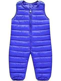 ARAUS Salopette Imbottito con Cotone da Neonato Pantaloni Bimbo Tute Senza Manica Outfit Jumpsuit Casuale Invernale