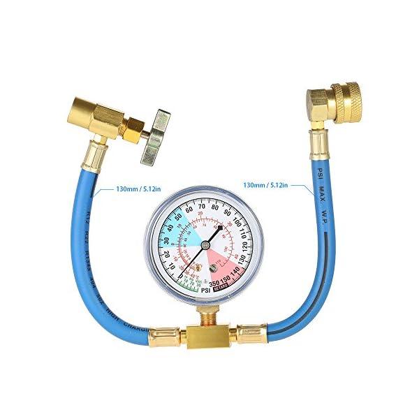KKmoon Equipo del indicador de la manguera de medición de la recarga del refrigerante del aire acondicionado del coche…