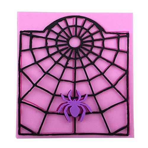 1Stück Halloween Spinnennetz DIY Formen für Hochzeit Cup Kuchen Dekoration Silikonform Eiswürfel Fondant Gießform Silikon für Kuchen Backen Schokoladen Seife Gelee Muffin (Halloween-ausstechformen W Groß)