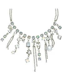 ff009648f14e Collar de Cadena de Color Plateado con Piedras de Cristal - Elegante Collar  de pedrería con