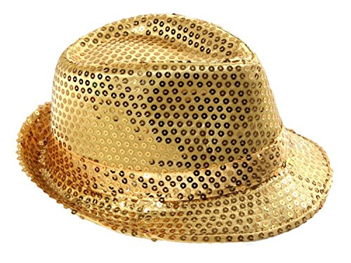 LED Lichter Clubstyle Partyhut Trilby Glitzer Pailletten Hut Blink Fedora Glitzerhut Glitter Disco, (Fedora Herren Hut Gold)