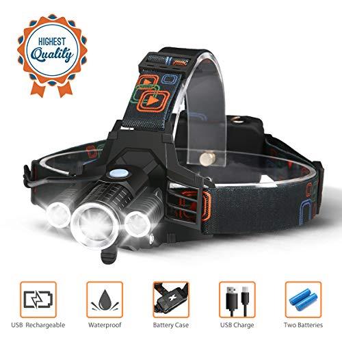 CAMTOA LED Stirnlampe, 3 LED Superheller Kopflampe 6000 Lumen Wasserdichter Scheinwerfer USB Wiederaufladbare Kopfleuchte, 4 Helligkeits-Modi, Hochleistung Headlamp ideal für Camping, Wandern