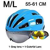 LOLIVEVE Schutzbrillen Fahrradhelm Ultralight Mountain Road Fahrradhelm mit Objektiv 55-61 cm