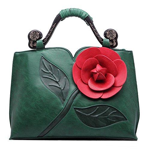 KAXIDY PU Leder Blume Handtasche Schultertaschen Messengerbags Schulter Handtasche Tasche Damentasche Grün