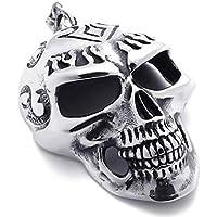 AnaZoz Acciaio Inossidabile Cranio Ciondolo Collana 18-26 Polici Catena Tribale Biker Uomo Catena