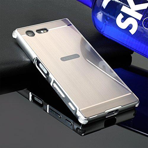 SpieHülle für Sony Xperia X Compact,BtDuck Silikon Metal Mirror Schutzhülle Handyhülle Mirror Protective Case Cover Glitzer Tasche Etui Bumper für Sony Xperia X Compact - Silber Grau