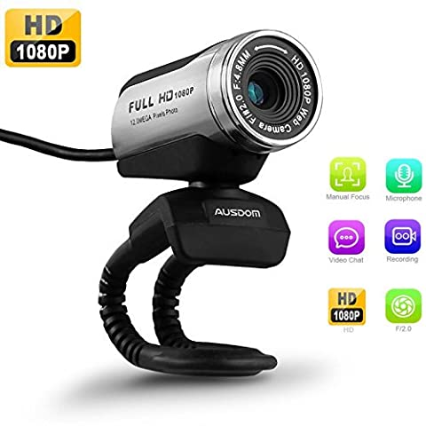 USB Webcam 1080P, AUSDOM 12.0M HD Camera Web Cam with Built-in Microphone Clip-On for Laptop Desktop Computer PC Skype Vedieo Call & Recording, Compatible with Windows 7/8/10, Auto Exposure, Digital Zoom, Manual Focusing -