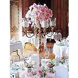 Kerzenleuchter Kerzenständer 5 - flammig 90cm ROSE GOLD inkl. 4 x Glas + Blumenschale für Wedding und Event Model BIG