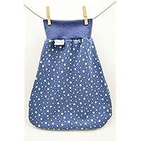 Strampelsack aus Bio-Baumwolle, Schlafsack zum Pucken, Babys und Kinder, 50 56, für Bett Kinderwagen, blau weiß Sterne, Mädchen Jungen, Geschenk Geburt, für Babys