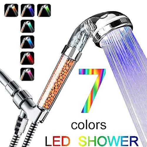 Accessori da bagno a LED colorati con filtro ionico negativo ad alta pressione e soffione doccia