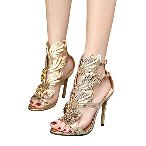 bae7830ca4ffea Ba Zha Hei Damen Riemchensandaletten Sandaletten Stiletto High Heels  Metallic Party Schuhe Elegante Abendschuhe Hochzeit Pure