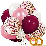 CICADAS 55 Stück Luftballons,12 Zolll,4 Farbe,Weiß Pink Weinrot Latex Ballons mit Konfetti Ballon für Baby Shower Bridal Shower Hochzeit Party Supplies(Rot)