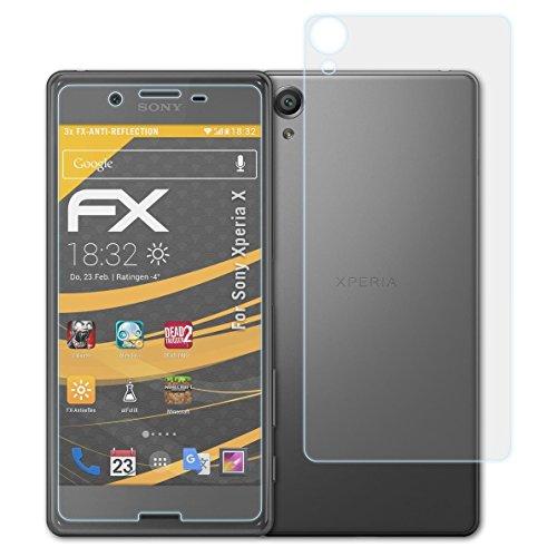 atFolix Panzerfolie kompatibel mit Sony Xperia X Schutzfolie, entspiegelnde und stoßdämpfende FX Folie (3er Set)