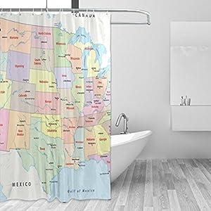 JSTEL Usa – Cortina de ducha con diseño de mapa resistente al moho y resistente al agua, tejido de poliéster, 182,88 x 182,88 cm, para el hogar, extra larga, 12 ganchos
