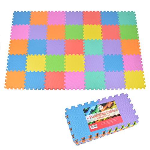 Puzzlestar Color, 36 tlg. Puzzlematte für Kinder aus rutschfestem EVA - große Spielmatte zusammensteckbar, jedes Teil 30 x 30 x 1 cm - bunte Kinderteppich zum Puzzeln