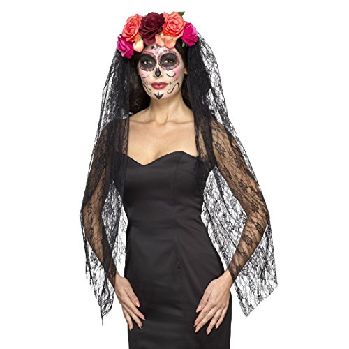 Amakando Halloween Haarreifen La Catrina mit Rosen und Schleier Tag der Toten Diadem Totenkopf Haarschmuck Sugar Skull Kostüm Accessoire Dia de los Muertos Kopfschmuck