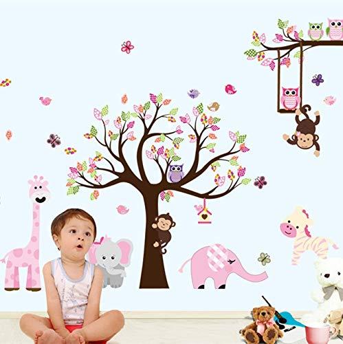 Atiehua Neueste Xxl Cartoon Tiere Zoo Eule Schmetterling Affe Wandaufkleber Für Kinderzimmer Wohnkultur Bunte Baum Aufkleber Stick Auf Wand