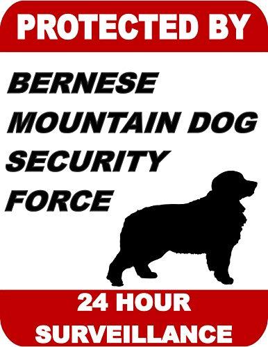Top Shelf Novelties Protected by Berese Mountain Dog Security Force 24 Hour Surveillance Schild laminiertes Hundeschild SP1704 (inklusive Bonus I Love My Dog) -