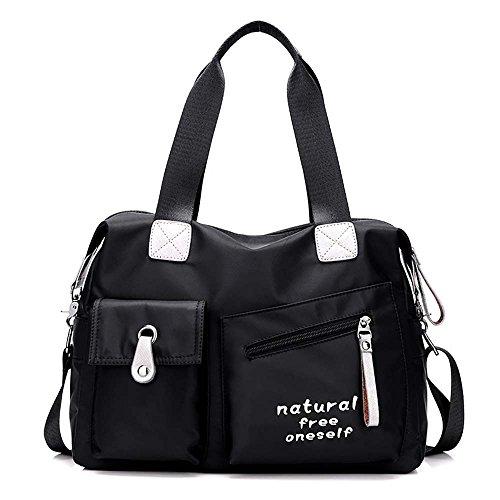 ONLY ONE YOU Damen Schultertaschen, Umhängetasche, Messenger bag, Handtaschen, Nylon, 38x28x13 cm (B x H x T) (Schwarz)
