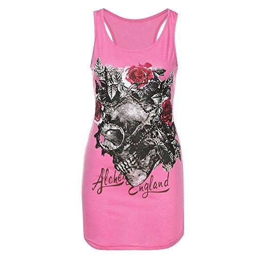 Vovotrade Maglietta estiva T-shirt con stampa gilet con scheletro di teschio (S, Rosa)