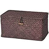 Yike-scatola di immagazzinaggio Cesto portaoggetti con Copertina Biancheria Intima Rattan Basket Bamboo Basket Hand-Made Desktop
