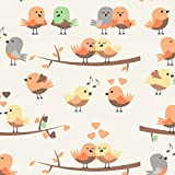 Erstklassiger Baumwollstoff 0,5lfm, 100% Baumwolle, modische Muster, Breite 160cm – Vögel orange