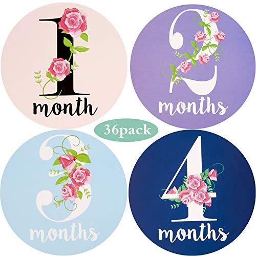 Zonon 36 Stücke Baby Monatliche Aufkleber Blume Baby Aufkleber Neugeborenen Monatliche Aufkleber Baby Geburtstag Party Dekoration Lieferungen für Babys Mädchen Jungen