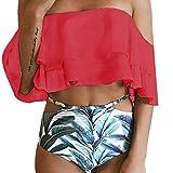 OverDose Frauen aus der Schulter Bikini Set Push-Up gepolsterte Bade Bademode Badeanzug(Red,M)